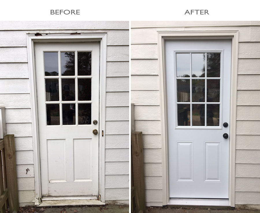 And if you noticed the door bell removed from the after picture who needs a door bell on your basement door anyway? & Door Replacement \u2013 Turner Blair Services Pezcame.Com